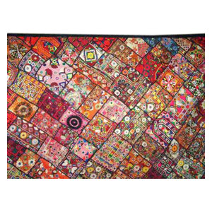 Mogul Interior - Kutch Embroidery Tapestry Indian Patchwork Wall Hanging - Tapestries