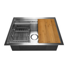 AKDY Undermount Handmade Stainless Steel Single Bowl Kitchen Sink With Tray