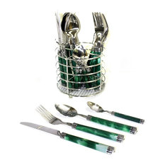 Flatware Set of Stainless Steel with Green Marble Design Handles & Storage Caddy