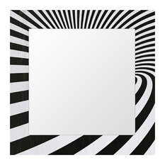 Abstract Optical Inlay Wood Framed Mirror, Black and White, 75x75 cm