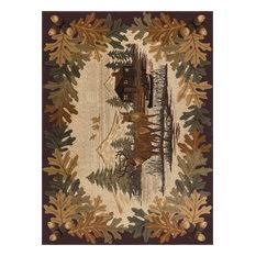 Oak Deer Novelty Lodge Pattern Brown Rectangle Area Rug, 8' x 10'