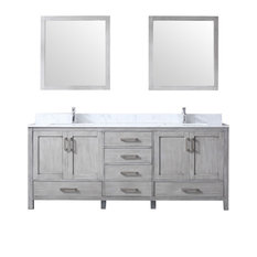 "80"" Double Vanity, Distressed Gray, Carrera Marble Top, White Sinks, 30"" Mirror"