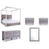 Modrest Arlene Modern Gray Elm and Stainless Steel Bedroom Set