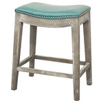New Pacific Direct - Elmo Bonded Leather Counter Stool, Turquoise - The Elmo Bonded Leather Counter Stool is the perfect no-nonsense, casual seat for your kitchen or bar area. A turquoise leather seat with silver nailhead trim sits atop mystique gray legs, making your kitchen island the hub of the home. And its nailhead detailing and classic shape makes it a versatile, rustic piece if your design scheme changes. Grab a few for your new favorite entertaining space.