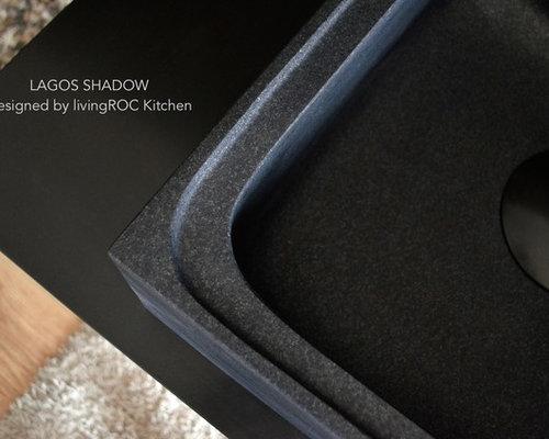 Évier en pierre pour cuisine 70x60cm Granit Noir absolu : LAGOS SHADOW