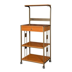 Steel And Wood Kitchen Utility Microwave Cart