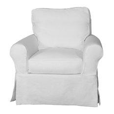 Sunset Trading Horizon Slipcovered Swivel Rocking Chair Warm White