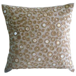 Beige Cotton Linen 30x30 Dotted Jute Cushions Cover, Jute Centric