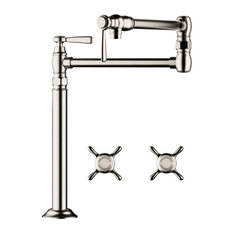 Hansgrohe 2 Handle Deck Mount Pot-Filler Faucet, 16860831, Polished Nickel