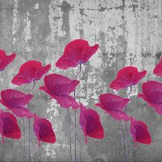 Red Poppy Wallpaper, Non-Woven Paper, 200x200 cm