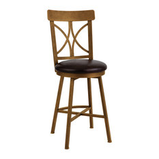 """Siena Bar Height Barstool, Cantina Black Bonded Leather/Copper Bisque, 30"""""""