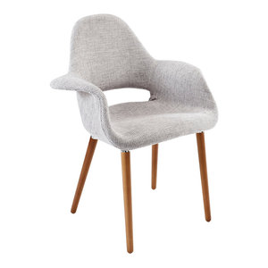 Aegis Dining Upholstered Fabric Armchair, Light Gray