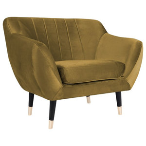 Levi Armchair With Black Legs, Gold