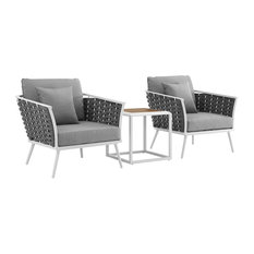 Stance 3 Piece Outdoor Patio Aluminum Sectional Sofa Set, White Gray