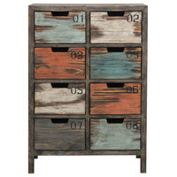 Tall 8 Drawer Apothecary Chest, Rustic Multicolor