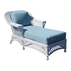 Bar Harbor Chaise Lounge in White, Glamour Indigo Fabric