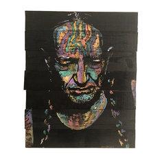 """Blue Eyes Crying in the Rain"" Willie Nelson Wood Art 18""x24"" by Matt Pecson"