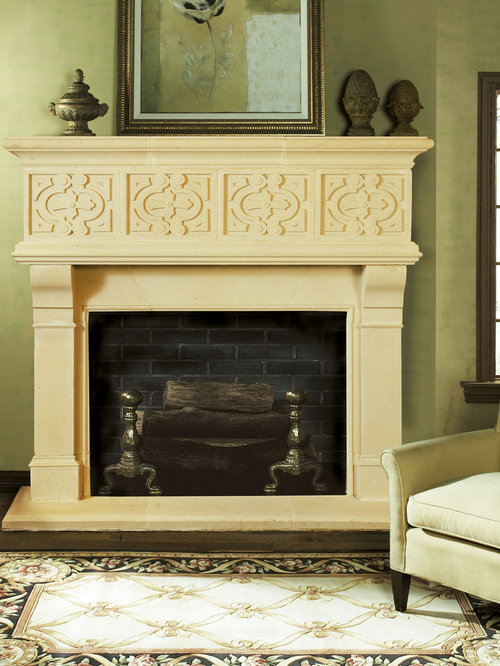 Rosamond Cast Stone Fireplace Mantel - Indoor Fireplaces - Cast Stone Fireplace Mantels