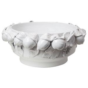 Della Robbia Round Centerpiece Antique White Farmhouse Decorative Bowls By Buildcom Houzz