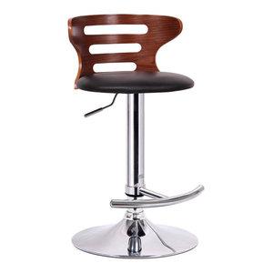 Baxton Studio Buell Walnut and Black Modern Bar Stool