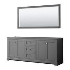 Avery 80-inch Double Vanity In Dark Gray No Top No Sinks