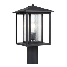 Sea Gull Lighting 1-Light Outdoor Post Lantern, Black