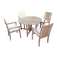 """5-Piece Teak Dining Set, 48"""" Round Butterfly Table, 4 Cahyo Stacking Arm Chairs"""