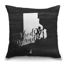 """""""Home State Typography - Rhode Island"""" Pillow 16""""x16"""""""