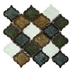 "10""x10"" Milano Lyrics Forest Crackle Glass Mosaic, Set of 10"