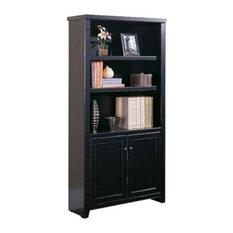 Martin Furniture - Martin Furniture Tribeca Loft 3 Shelf Lower Door Wood Bookcase in Black - Bookcases