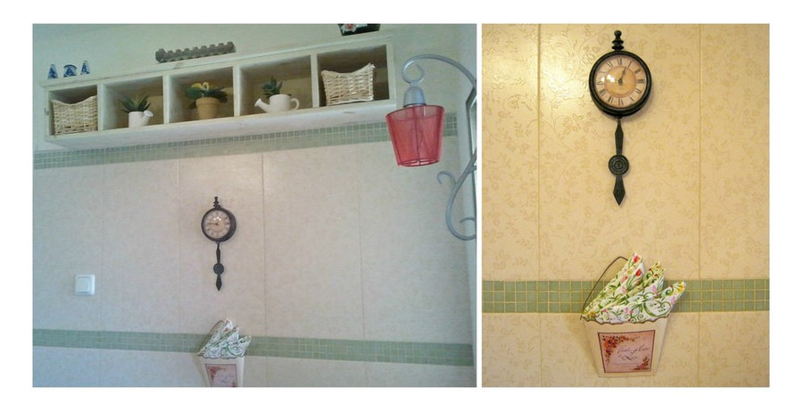 brkfst nook: 3D antique rose tile as in kitchen back-splash