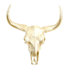 Faux Buffalo/Bison Skull Wall Decor, Gold