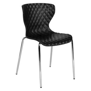 Lowell Contemporary Design Plastic Stack Chair, Black