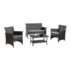 Divano Roma Furniture   Patio 4 Piece Wicker Furniture Set, Gray   Outdoor  Lounge