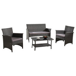Luxury Savannah Piece Patio Furniture Outdoor Dining Set Black or Brown Wicker