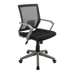 Techni Mobili Rolling Mesh Office Task Chair With Arms, Black