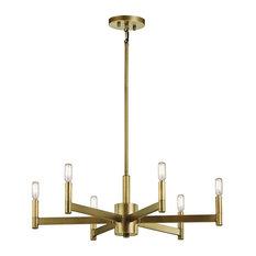 Chandelier 6-Light, Natural Brass