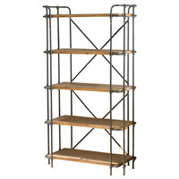 Pate Outdoor Iron 5-Shelf Bookcase, Black/Blue and Antique
