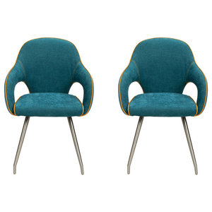 Adelaide Faux Leather Dining Chairs, Stone Blue, Set of 2