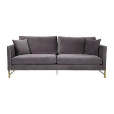 Massi Velvet Sofa, Gray