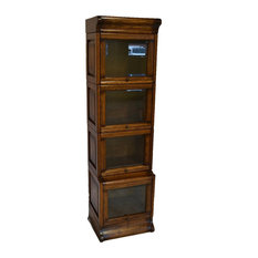 Arts and Crafts Mission Oak 4 Stack Narrow Barrister Bookcase With Leaded Glass