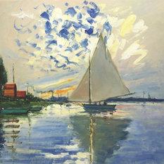 La Pastiche - Monet, Sailboat at Le Petit-Gennevilliers, Unframed loose canvas - Paintings