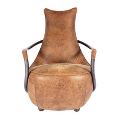 27-inch W Club Chair Distressed Top Grain Leather Iron Frame Round Seat Tapered Back