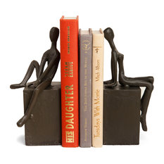 Danya B - 2-Piece Man and Woman Sitting on a Block Metal Bookend Set - Bookends