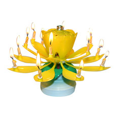Lotus Flower Musical Candle, Yellow