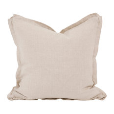 "Davida Kay Prairie Linen Slub 20""x20"" Pillow, Down Insert, Neutral"