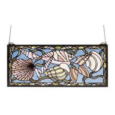 """Meyda 24""""x10"""" Seashell Stained Glass Window"""