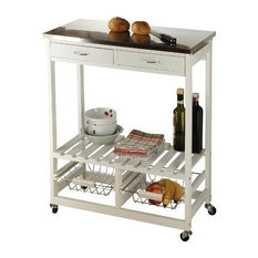 Modern Serving Trolley Cart, White MDF With Stainless Steel Top and 2-Drawer