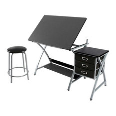 Modern Drawing Table and Stool, Black Steel Frame and MDF Top