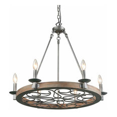 6 Light Wood & Metal Candle Chandelier